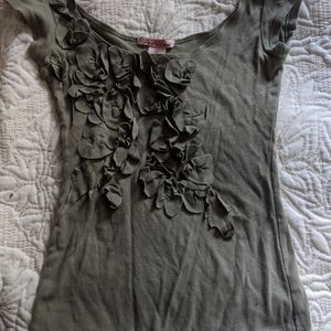 Olive/sage green petal/flower T